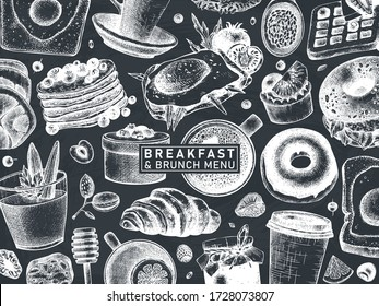 Breakfast table banner on chalk b. Morning food and hot drinks menu vector template. Breakfast and brunch dishes background. Vintage hand drawn food sketches. Engraved  breakfast design on chalkboard.
