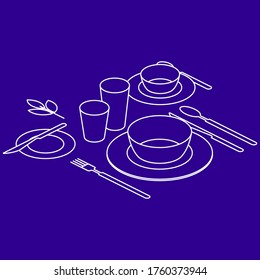Breakfast table, isometry view. Serving of table with plates, cutlery, cup and glasses. Vector illustration
