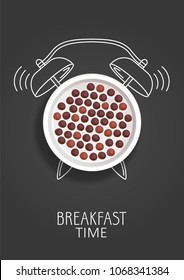 Breakfast time. Realistic milk with chocolate cereal balls and painted alarm clock. Concept. Vector illustration