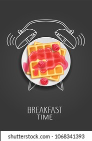 Breakfast time. Realistic waffles, jam and fresh raspberries and painted alarm clock. Concept. Vector illustration.