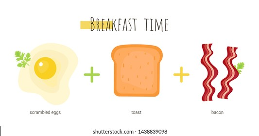 Breakfast time which consists of scrambleв eggs, toast and bacon. Isolated cartoon dishes. Doodle color set of ingredients and products for cooking
