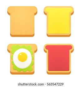 Breakfast toast set. Slices of toast with butter, jam, avocado and fried egg. Flat cartoon style vector illustration.