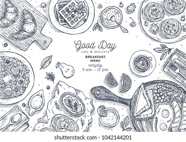Breakfast top view illustration. Various food background. Engraved style illustration. Hero image. Vector illustration