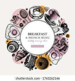 Breakfast trendy wreath design. Morning food and drinks frame with abstract and geometric elements. Breakfast and brunch sketches. Perfect for recipe, menu, packaging. Vintage food modern background.