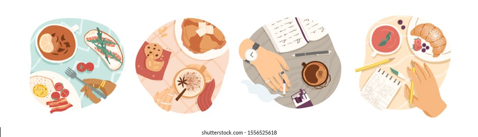 Breakfast types vector illustrations set. Morning meal, coffee and tea, omelette and croissant top view. Lunch break, meal time. Healthy homemade luncheons isolated on white background.