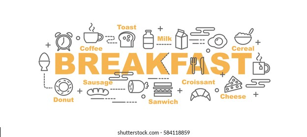 breakfast vector banner design concept, flat style with thin line art icons on white background