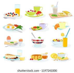 Breakfast vector morning food healthy meal egg cereal cake and pancake with orange juice and coffee illustration set of breakfast table in hotel restaurant isolated on white background