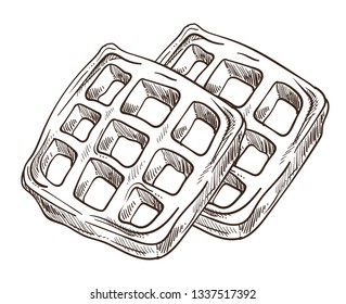Breakfast waffles isolated sketch cooking wafer dessert vector food dish or meal bakery or pastry product culinary recipe Belgium cuisine baking crispy crust grid soft wheat dough monochrome drawing
