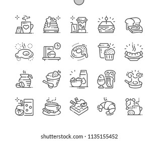 Breakfast Well-crafted Pixel Perfect Vector Thin Line Icons 30 2x Grid for Web Graphics and Apps. Simple Minimal Pictogram