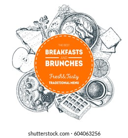 Breakfast wreath. Morning food and hot drinks menu vector frame. Engraved style breakfast design in circle. Breakfast and brunch dishes background. Vintage hand drawn food sketches. Hand drawn
