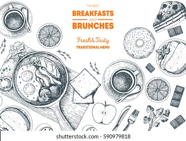 Breakfasts and brunches top view frame.  Food menu design. Vintage hand drawn sketch vector illustration.