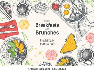 Breakfasts and brunches top view frame. Food menu design. Vintage hand drawn sketch vector illustration. Engraved style image. Traditional breakfast.
