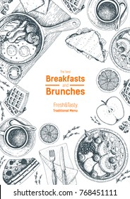 Breakfasts and brunches top view frame. Food menu, design. Vintage hand drawn sketch, vector illustration. Engraved style. Vertical poster.
