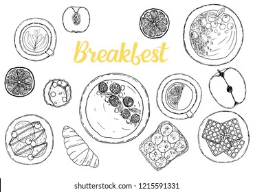 Breakfasts ingredient top view. Food elements collection. Hand drawn vector illustration. Menu, flyer with modern style lettering.