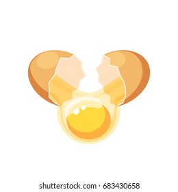 Breaking the brown egg. Vector illustration flat icon isolated on white.