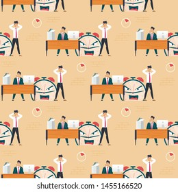 Breaking Burning Deadline and Male Office Workers Seamless Pattern. Tired, Exhausted Coworkers Feeling Stress from Workload. Metaphor Alarm Clock with Angry Face. Vector Flat Endless Illustration