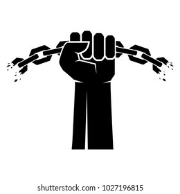 Breaking chain protest, rebel vector poster. Human hands and broken chain .Freedom concept. Vector illustration