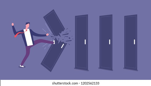 Breaking door. Powerful businessman overcomes barriers, roadblock. Brute force and challenge vector concept. Illustration of businessman break door, ability and triumph