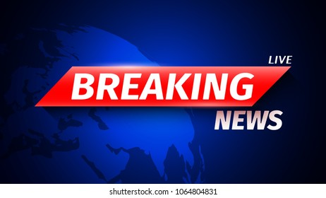 Breaking news background with world map. Vector illustration.