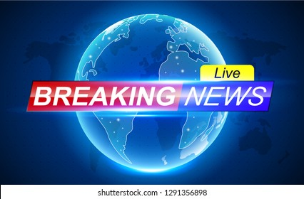 Breaking News banner header. Breaking news banner background with world map Ellipsis