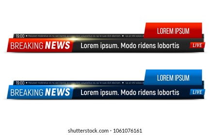 Breaking news banner. News header template. Vector illustration.