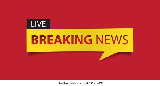 Breaking news banner isolated on red background. Banner design template. Vector illustration