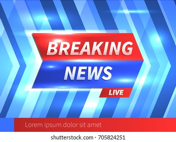 Breaking News Banner with striped blue Background and bright glares. Vector Template. Vector Illustration.