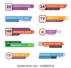 breaking news banners. television interface bar tv graphic sport reporters names vector gui template isolated