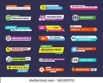 Breaking news. Broadcasting banners tv sport video interface vector graphic. Illustration of interface sport header, broadcast channel bar