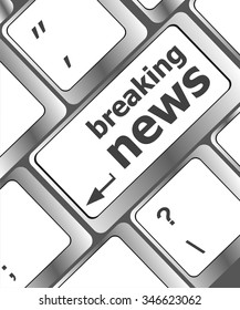 breaking news button on computer keyboard pc key vector illustration