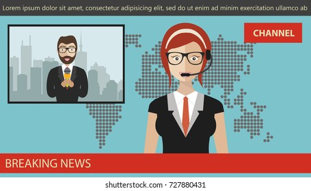 Breaking news concept. News anchor broadcasting the news with a reporter live on screen. Flat vector illustration