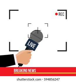 breaking news concept creative illustration on TV vector on live with camera frame & record. Journalism on flat design. Human hand with a modern mic. Microphone in one hand of journalist