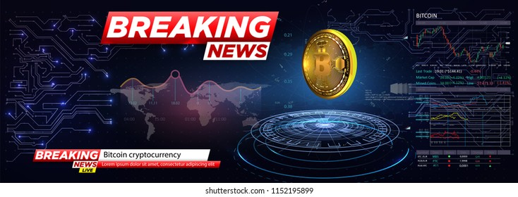 Breaking news a cryptocurrency, bitcoin in HUD style.Icon of Bitcoin. Realistic Bitcoin coin on the blue background of the electrical circuit. Modern cryptocurrency. Vector illustration.