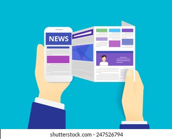 Breaking news. Flat modern vector illustration of human hands holds a smartphone for online reading news in mobile phone app for a newspaper or magazine. Worldwide media in your device