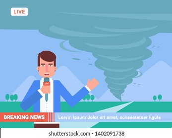 Breaking news flat vector illustration. Storm, hurricane, whirlwind, tornado danger reportage. Journalist with microphone live on camera cartoon character. Weather forecast. Outdoor shooting, filming