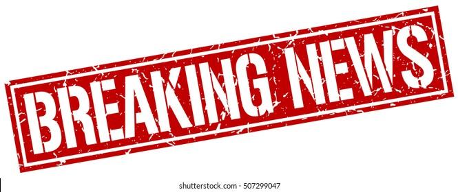 breaking news. grunge vintage breaking news square stamp. breaking news stamp.