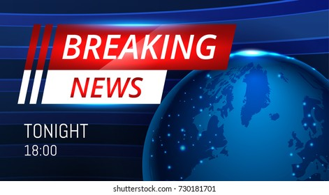 Breaking News Live background banner with planet map . Business or Technology News Background. Vector stock Illustration. EPS 10