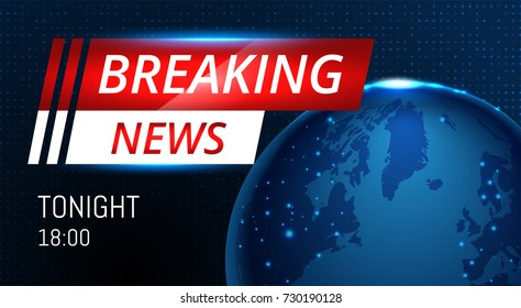 Breaking News Live background banner with planet. Business / Technology News Background. Vector Illustration.