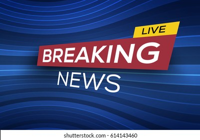 Breaking News Live Banner on Glowing Wavy Lines Background. Business / Technology News Background. Vector Illustration.