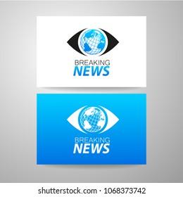 Breaking News Live on World. Logo template. Vector Illustration.
