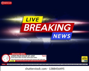 Breaking news live on world map background.Background screen saver on breaking news.  Vector illustration.
