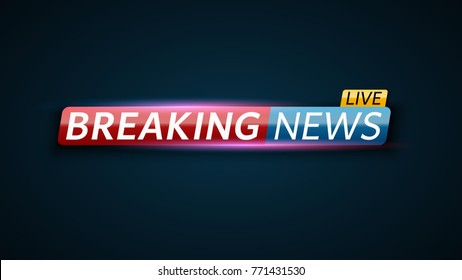 Breaking news live. Red blue banner with white text. Dark blue background. Red and blue glare. Technology and business. Live on TV. Vector illustration