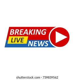 Breaking News Logo, Live Banner.TV news, Mass media design. Vector illustration