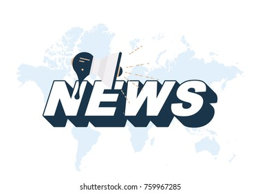 Breaking news with loudspeaker and world map on white background. Flat vector illustration EPS10
