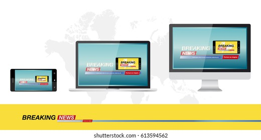 Breaking news in monitor computer, laptop and smartphone on the background of the world map, banner for the screen. Template for TV channels. Flat vector illustration EPS10