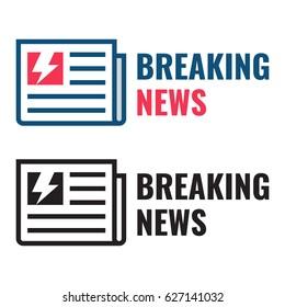 Breaking news. Newspaper icon set. Flat vector illustration on white background.