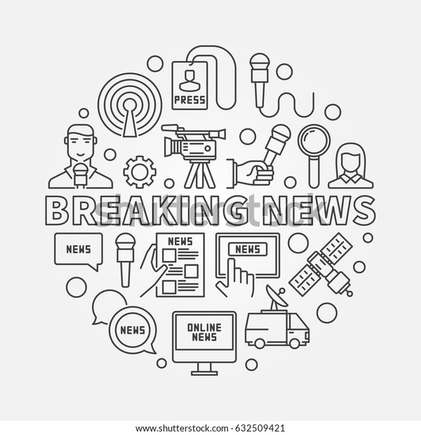 Breaking news outline illustration - vector sign made with microphone, journalist, camera, satellite and other media icons in thin line style