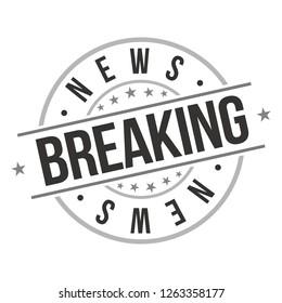 Breaking News. Quality Original Stamp. Design Vector. Art Round Seal.
