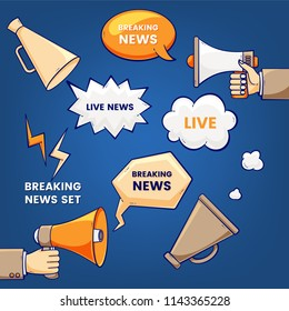 Breaking news set, vector illustration with megaphones