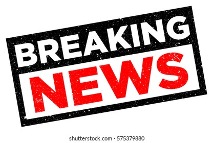 "Breaking News Stamp. Red grunge rubber stamp vector. Badge with text ""Breaking News"" isolated on white background."